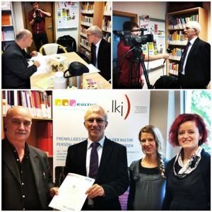 Unteres Bild v. .l. n. r.: Axel Schneider, Minister Norbert Bischoff, Stefanie Schaarschmidt und Kirsten Mengewein.