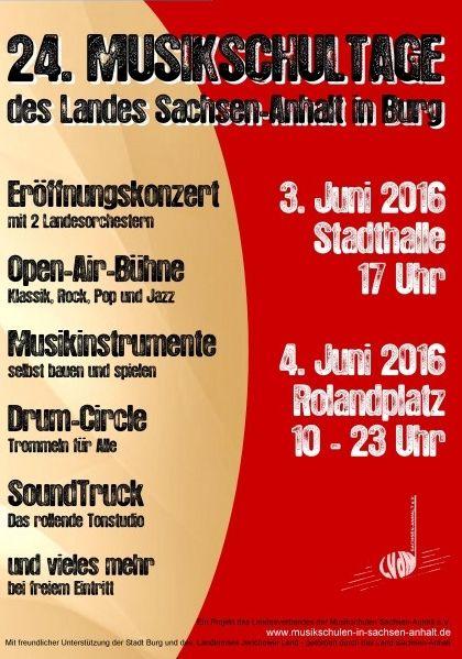 Plakat der Musikschultage in Burg 2016