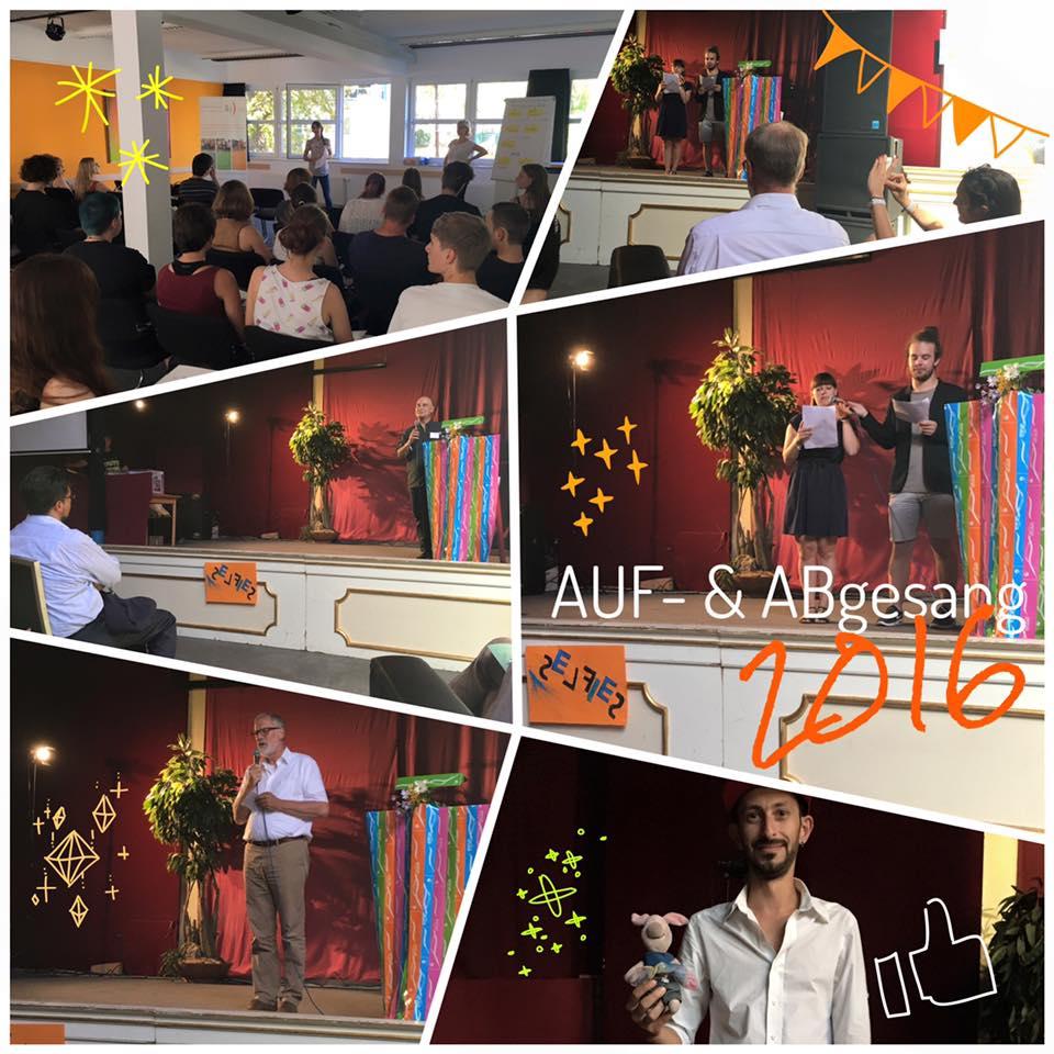 """Kultusminister Rainer Robra (u. l.) verabschiedet die Freiwilligen des Jahrgangs 2015/16 und begrüßt die """"Neuen"""" des Jahrgang 2016/17. Anschließend gab es Party mit DJ Moe (u.r.)"""