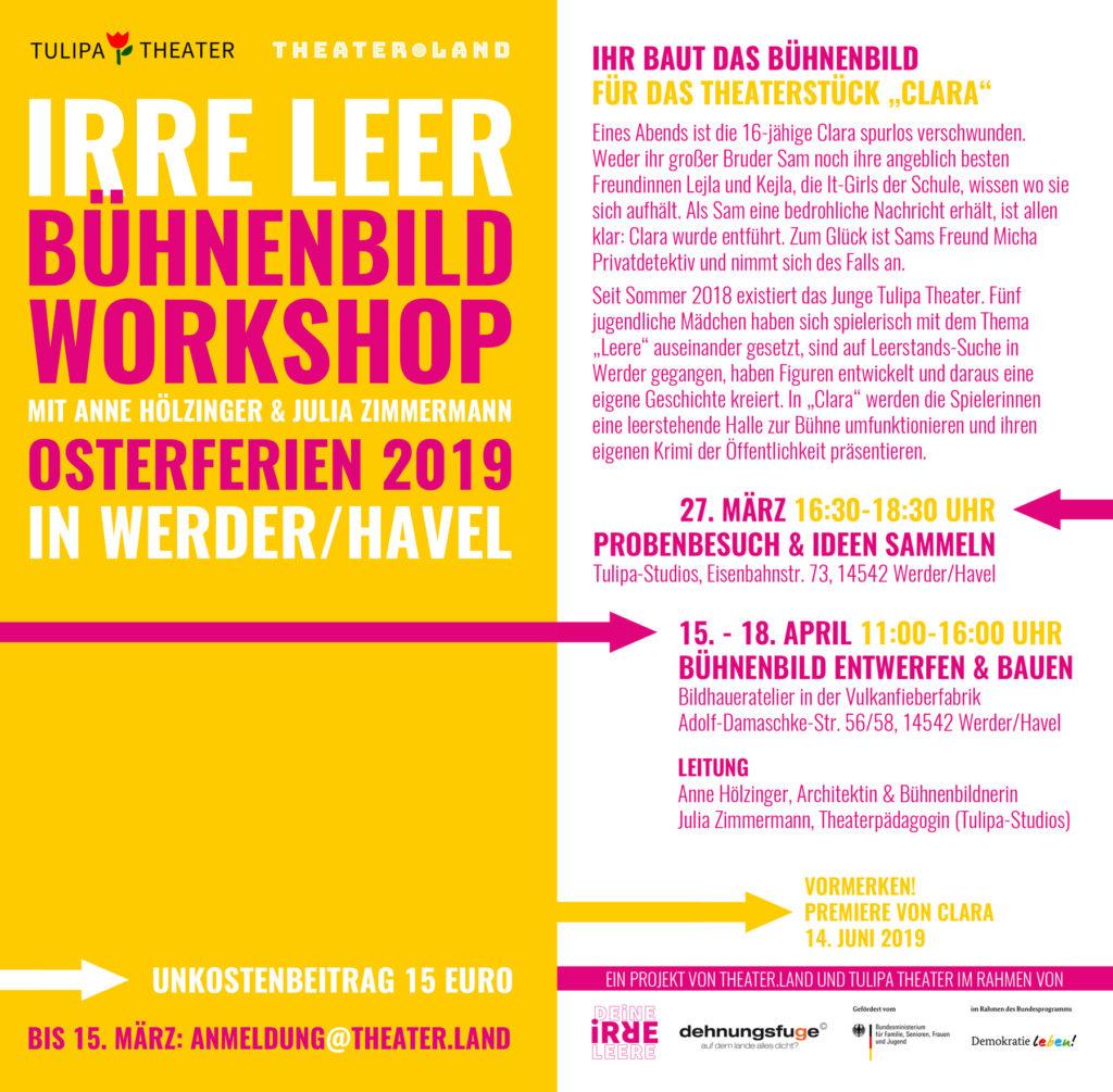 Einladung farbig in Gelb/Pink Layout, in Buchstaben: Bühnenbildworkshop in den Osterferien 2019 in Werder/Havel. Anmeldungen bis 15.März 2019. Workshop am 27.März und 15.-18.April 2019.