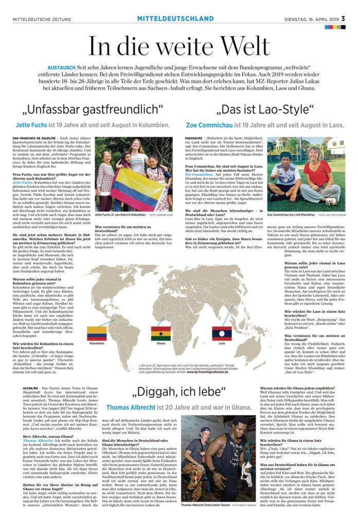 Screenshoot vom MZ-Zeitungsartikel »In die weite Welt« – Interviews mit Freiwilligen