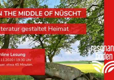 """Flyer für die Online Lesung """"In the middle of nüsch - Literatur gestaltet Heimat"""" am 14. November 2020 um 19:30 Uhr."""