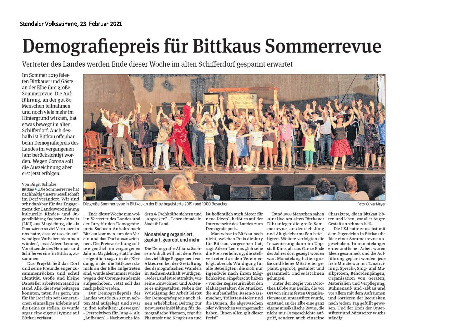 Demografiepreis des Landes Sachsen-Anhalt für Bittkauer Theater-Revue »Elbkilometer 372!«