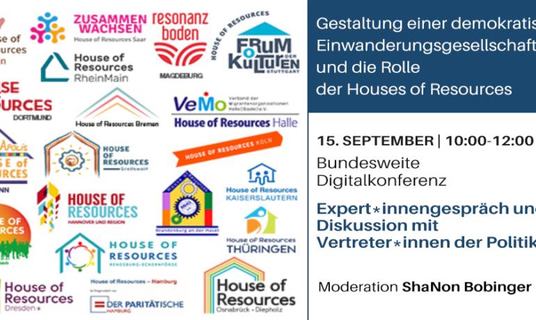 Bundesweite Digitalkonferenz | Gestaltung einer demokratischen Einwanderungsgesellschaft  und die Rolle der Houses of Resources